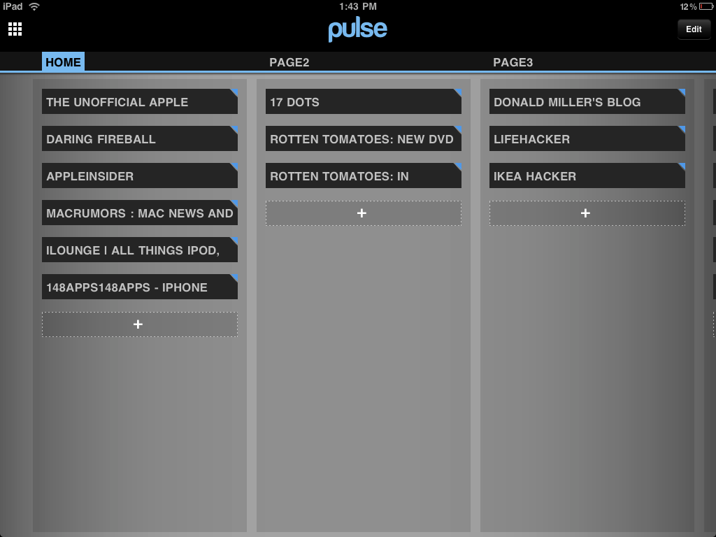 Pulse RSS Reader iPad