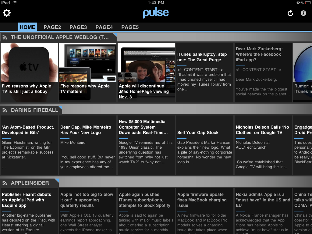 Pulse RSS main View iPad