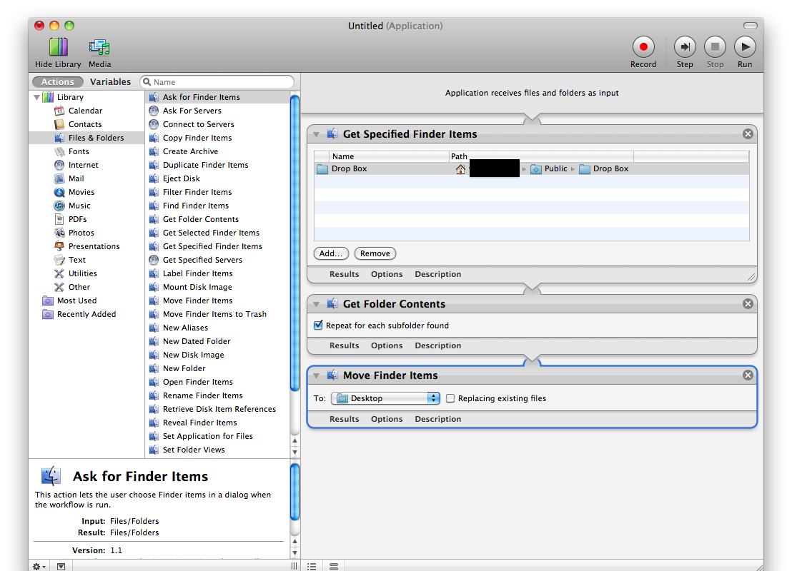 Automator Application | From Drop Box to Desktop | Brian Nagel