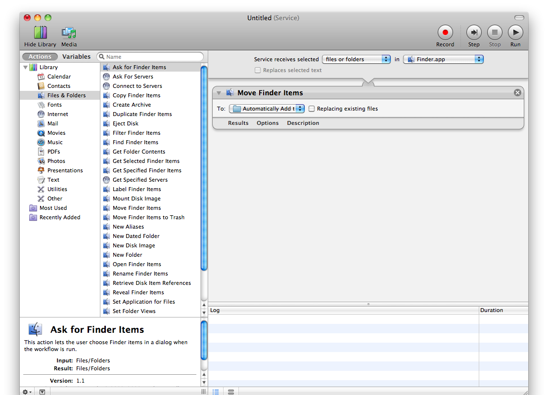 Automator Service | Sent to iTunes | Brian Nagel