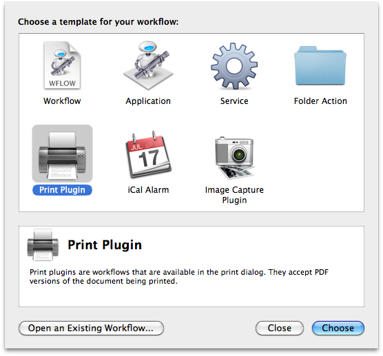Mac OSX Automator Print Plugin Preset