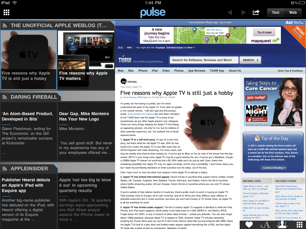 Pulse RSS Reader Article view iPad